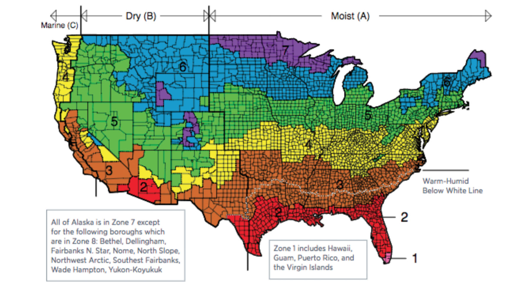 Ashrae climate zone map the image kid for Best r value windows