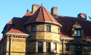 The hipped roof turret on the building's primary façade was in need of serious attention.