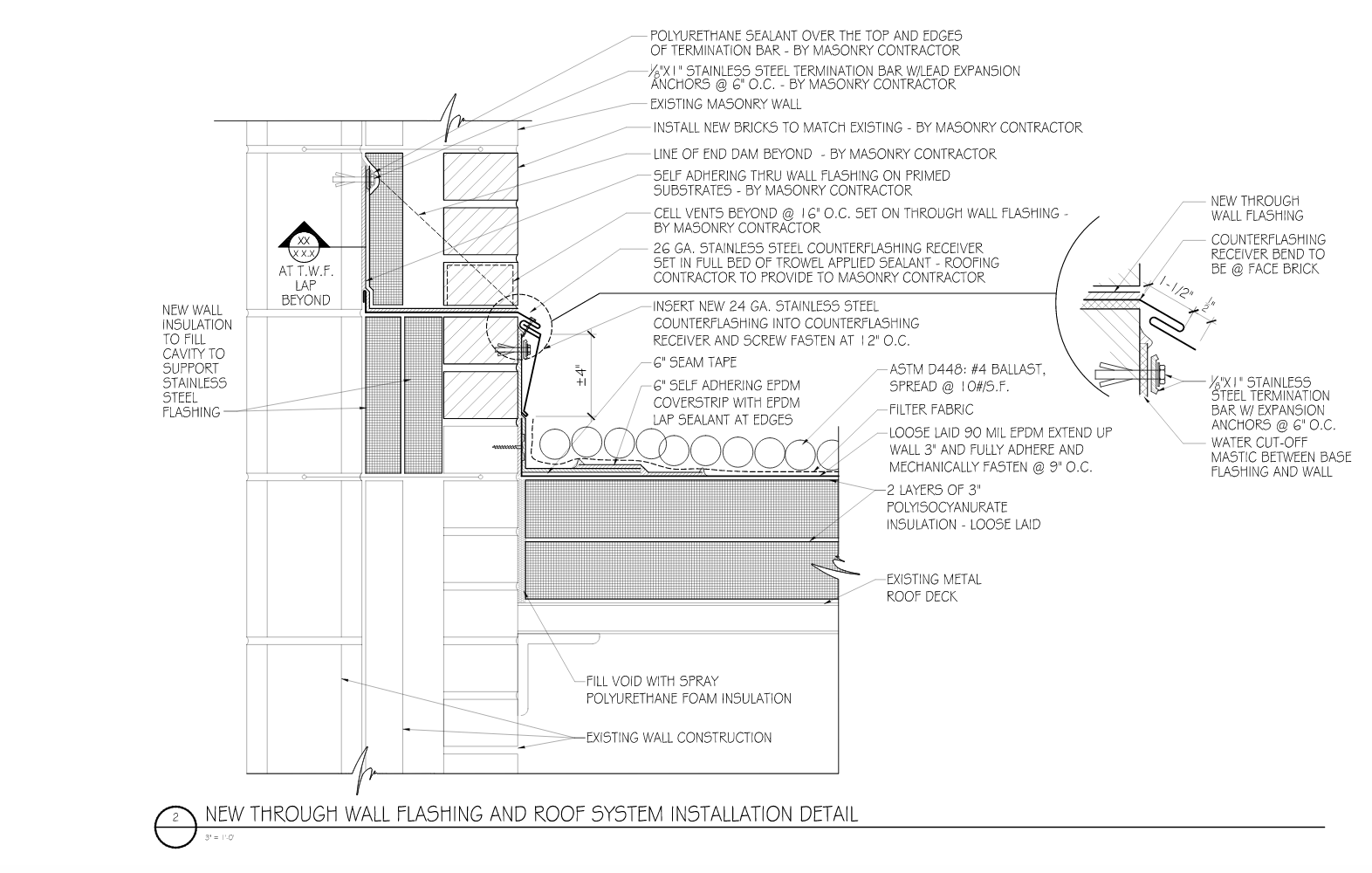 DETAIL 2: Reroofing: A well-thought-out design and detailed raising of the through-wall flashing communicates clearly to the contractor what the design intent is and what is required.
