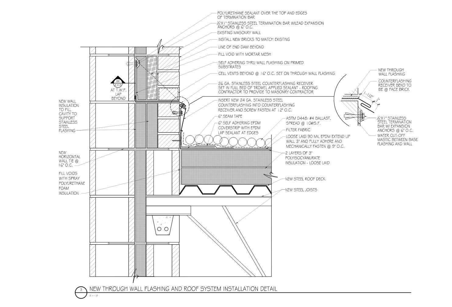 """DETAIL 3: New Construction: Well- thought-out and explicate detailing of how the two trades interface is a good first step to """"do it right the first time"""" in new construction."""