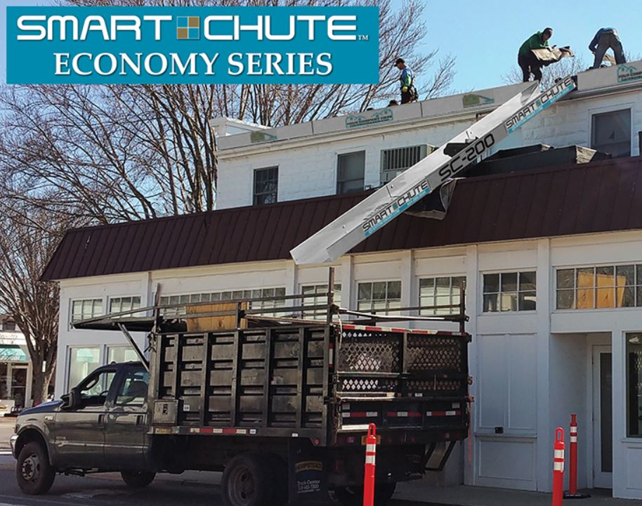 The Smart Chute is meant to assist the demolition process by sending the debris directly into the dumpster or truck.