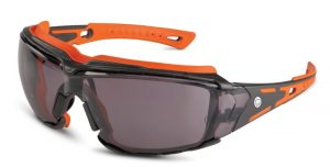 Orange Crush eye protection features channels along the brow line to move water and sweat away from the eyes.