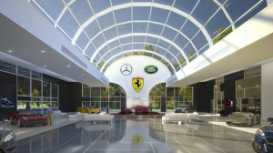 A car dealership makes good use of a vaulted commercial skylight. PHOTO: Skyco Skylights