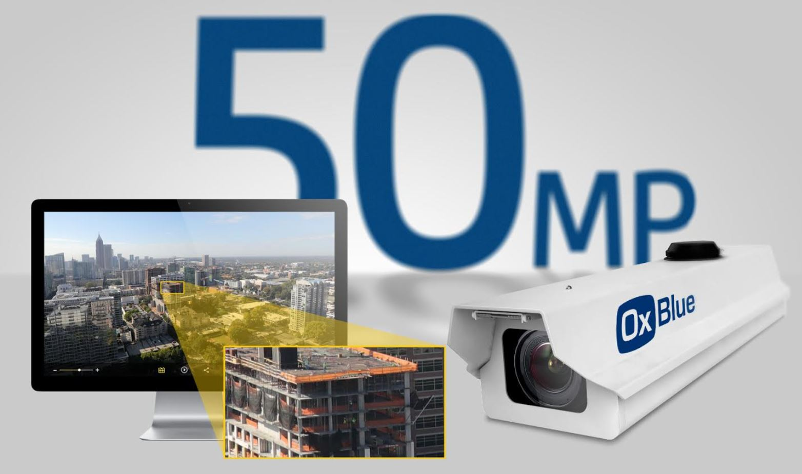 The OxBlue 50-MP construction camera produces high resolution images for documenting, managing, and marketing construction projects.