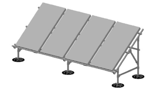 The framing of the solar mounting system features a carbon steel finish that is hot dip galvanized per ASTM A 123.