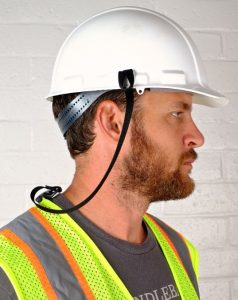 The hard hat lanyard attaches to fall-protection harness systems or clothing.