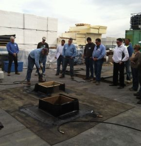CERTA offers a certification program in which authorized trainers deliver behavior-based training to roofing workers who install polymer modified bitumen roof systems.