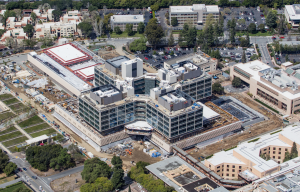 This aerial photo shows the new Stanford Hospital, which is currently under construction. When completed in 2018, the complex will showcase 16 different roofing systems on 12 different elevations. Photo: Stanford Health Center.