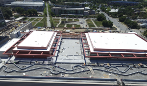 On the adjoining multi-level parking deck, Letner Roofing installed PVC roofs on two office buildings. The rest of the roofing and waterproofing work on the parking structure, including another garden roof, was completed by Courtney Waterproofing and Roofing. Photo: Stanford Health Center.