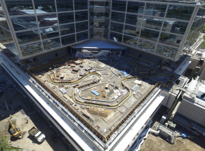 The new hospital features green roofs on the main hospital, central plant and parking structure. The garden roof section on level three of the main hospital building is shown here. Photo: Stanford Health Center.