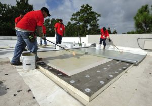 A TPO membrane roof system was installed over high-density polyiso cover board.