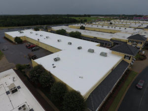 Peach State installed a mechanically attached TPO system over the existing modified bitumen roof system on two buildings totaling approximately 75,400 square feet.