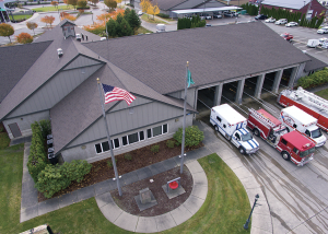 The roof system was installed by Cascade Roofing Company using shingles manufactured by PABCO Roofing Products.