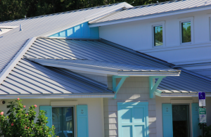 The standing seam metal roof was installed after the building envelope