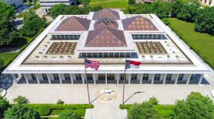The North Carolina State Legislative Building was the site of a renovation project that included asbestos abatement in the interior and a complete restoration of the building's roof systems.