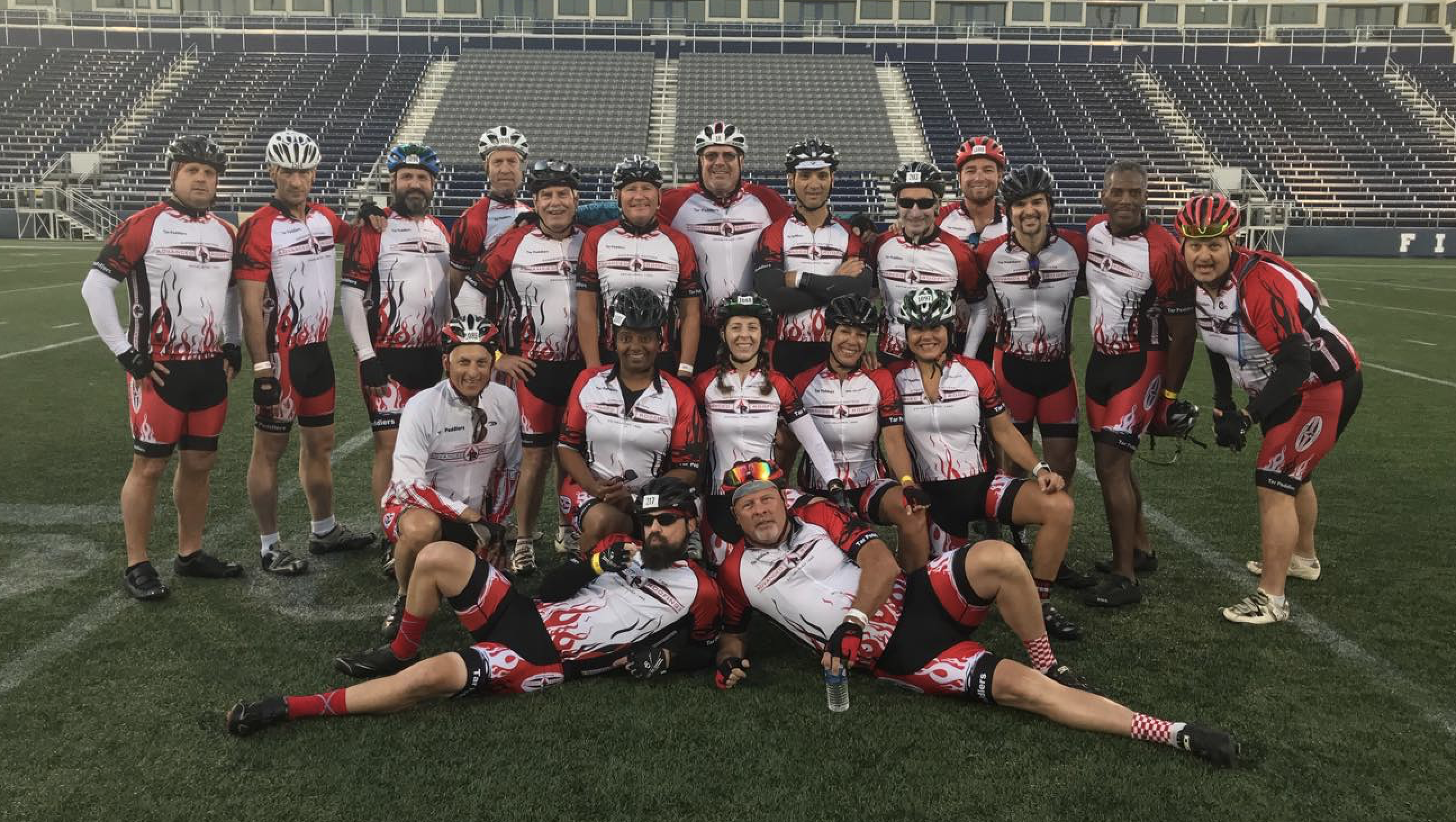 The bicycling team from Advanced Roofing Inc. participated in the Multiple Sclerosis (MS) Bike Ride for the 15th consecutive year