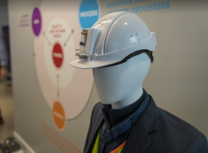 The Microsoft team demonstrated how a hard hat and safety vest fitted with sensors could communicate vital information to others far from the jobsite.