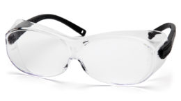 Pyramex offers four protective eyewear options that are designed to fit over prescription glasses.