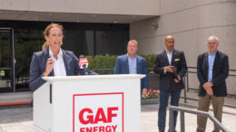 U.S. Rep. Mikie Sherrill (NJ-11) toured the facilities of GAF to highlight their ground-breaking work and discuss the RAISE the Roof Act.
